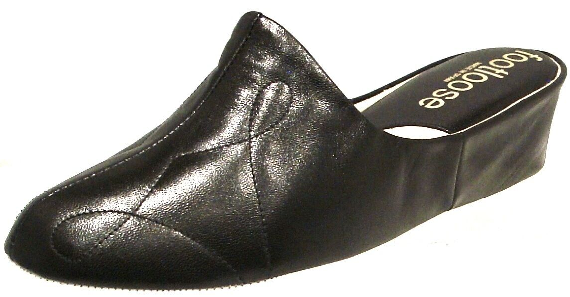 WEDGE LEATHER SPANISH SLIPPERS BLACK CUSHIONED COMFORT FOOTLOOSE BY RELAX