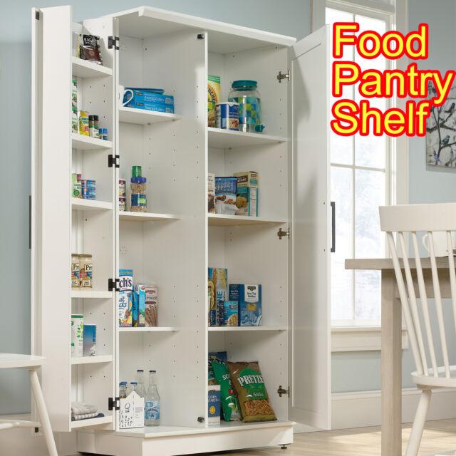 Storage Cabinet Pantry Kitchen Cupboard Organizer Tall Wood Shelf