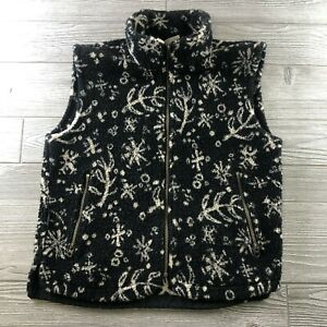 Columbia-Women-s-Deep-Pile-Fleece-Vest-Size-Small-Black-SnowFlakes-Full-Zip