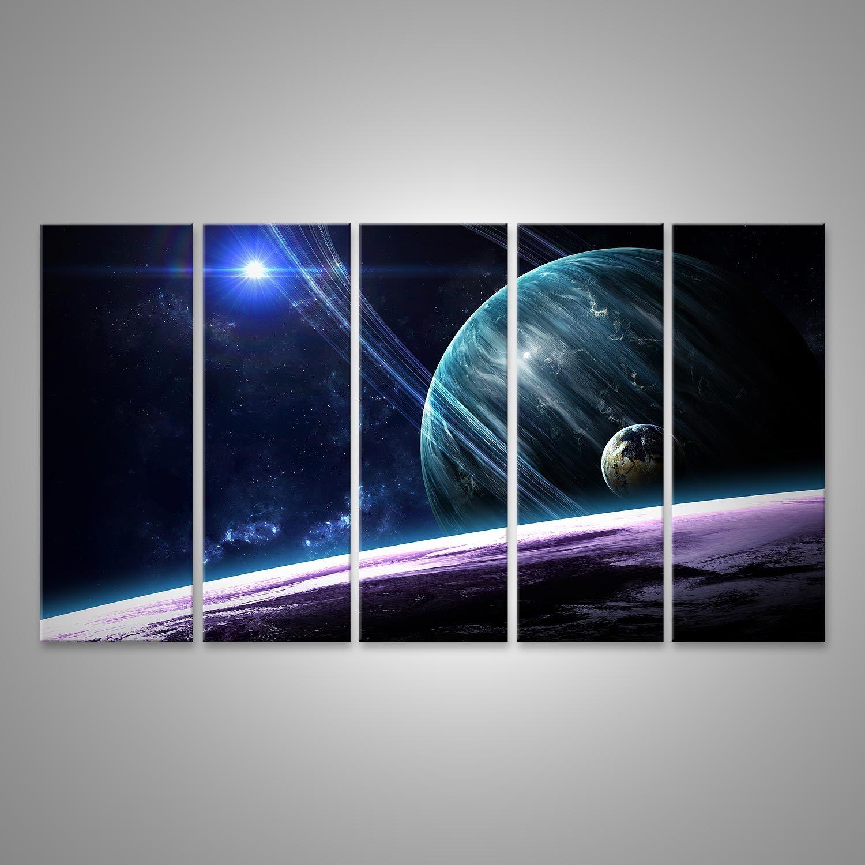 Bild Bilder auf Leinwand Universumszene mit Planeten, Sternen und Gala EYV-5P