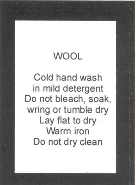 100 Care Labels Washing Instructions On Soft Satin Wool Hand Wash