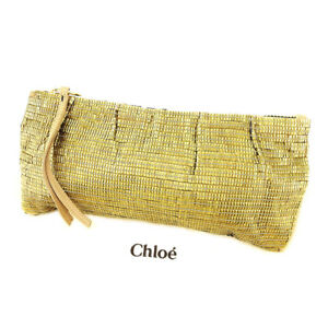 4d8e3a4edc6 Image is loading Chloe-Clutch-bag-Gold-Woman-unisex-Authentic-Used-