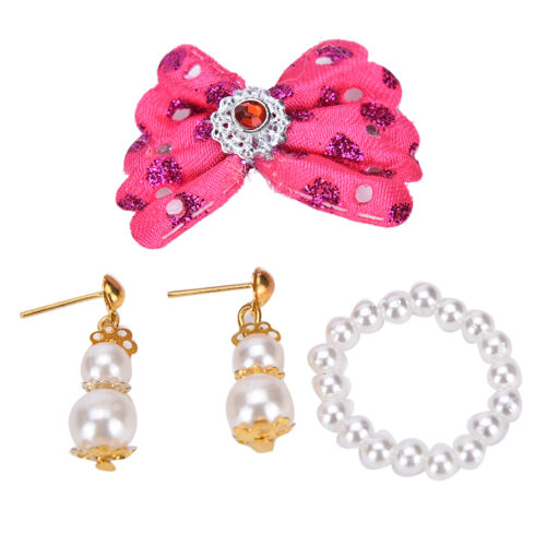 Doll Plastic Accessories Jewelry Pearl Necklace Earrings For Kids