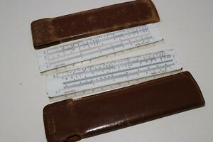 Lot-2-Vintage-Dietzgen-Slide-Rule-in-Leather-Case-Plastic-Short