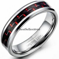 Red & Black Carbon Fiber 6mm Tungsten Carbide Ring Women Engagement Wedding Band