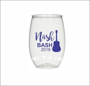 0d2ad11a70a Details about 16oz personalized stemless wine glass, wedding cups, Nash  Bash, plastic cups