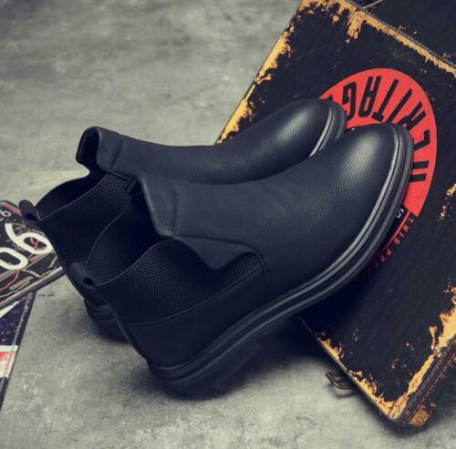 Mens Casual Pull On Desert Leather Chelsea Ankle Boots Bussiness Shoes Fashion