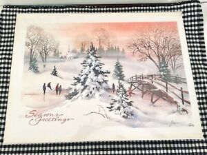 VTG-Holiday-Winter-Paper-Season-039-s-Greetings-Christmas-Napkins-and-Placemats-NIP