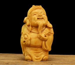 "2.8"" Chinese Box-wood Hand Carving Taoism Mammon Wealth God Yuanbao Ruyi Statue"