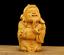 "thumbnail 1 - 2.8"" Chinese Box-wood Hand Carving Taoism Mammon Wealth God Yuanbao Ruyi Statue"