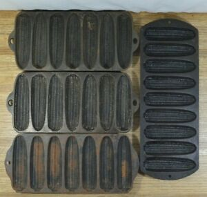 LOT-of-4-Vtg-Cast-Iron-Corn-Bread-Stick-Pans-Griswold-Wagner-Lodge-Made-in-USA