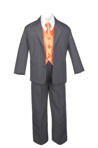 7PC Kid Teen Formal Wedding Tuxedo Boy Dark Gray Suit Extra Color Vest Tie 8-20