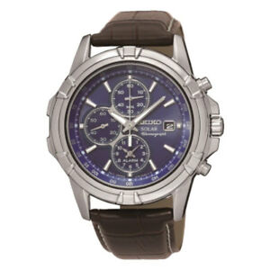 dd7895883 Image is loading SSC141P2-NEW-Seiko-Gents-Solar-Alarm-Chronograph-Leather-