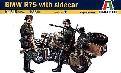 Italeri 1/35 315 WWII German Motorcycle BMW R75 with Sidecar (w/3 Figures)