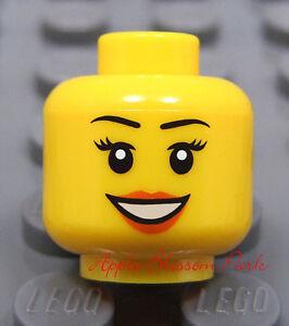 Kingdoms//Castle NEW Lego Female MINIFIG HEAD Girl w//Red Lips Smile Beauty Mark