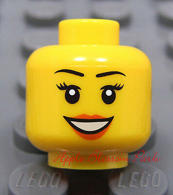 NEW Lego City MINIFIG HEAD Police Agents w//Black Side Burn Hair /& Wink Smile