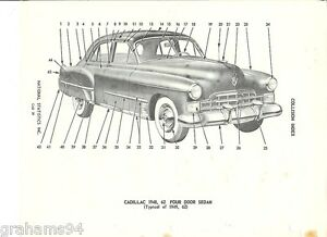 Details about 1948 1949 Cadillac Series 62 Four Door Sedan Exterior Body  Trim NOS Parts Guide