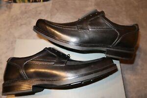 Men's JOHNSTON & MURPHY Size 12 Black Norvell Moc Toe Lace Up Leather Oxford