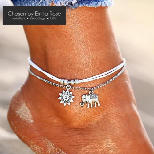Silver Boho Ankle Bracelet 3 Layer Anklet Adjustable Chain Foot Beach Jewelry