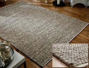 SMALL-LARGE-THICK-BEIGE-MINK-TAUPE-PEBBLES-BOBBLES-100-WOOL-3D-RUG-CLEARANCE