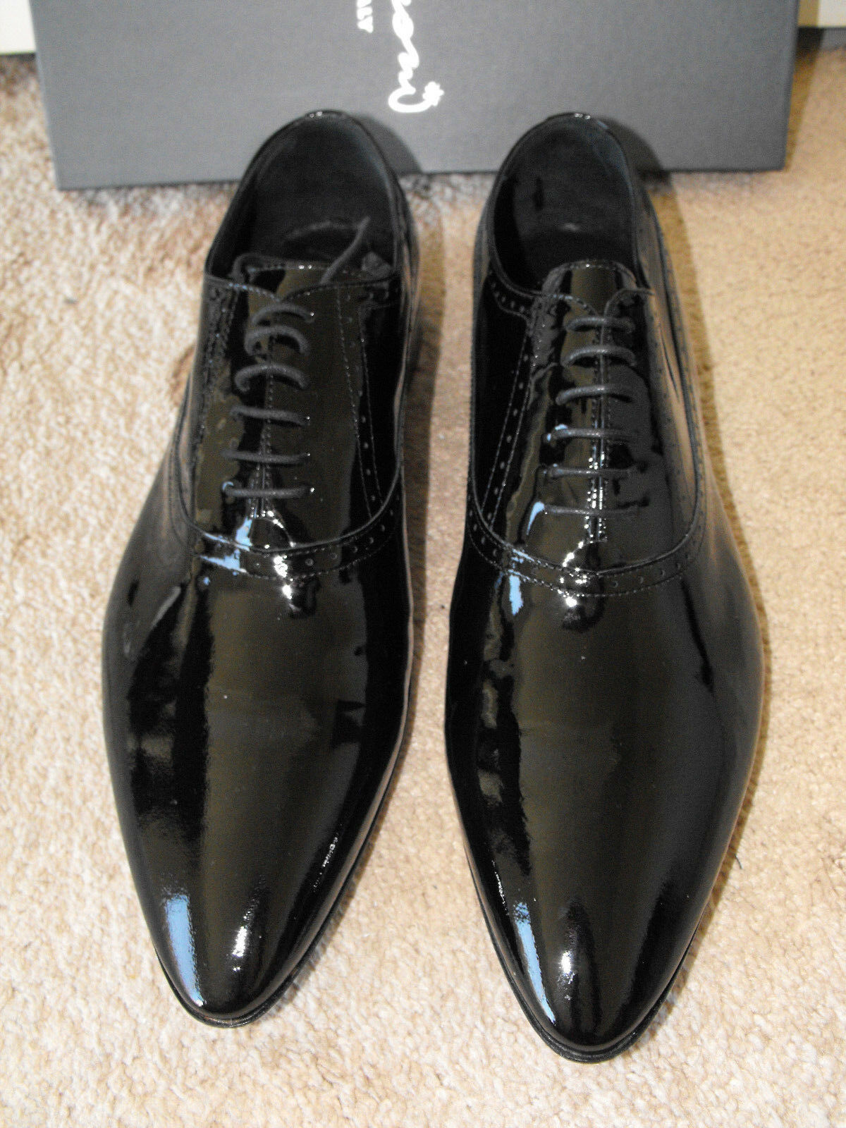 Scarpe casual da uomo  NIB $495 FRANCESCONI ITALY Handmade Patent Leather Oxfords EU 45 US 12