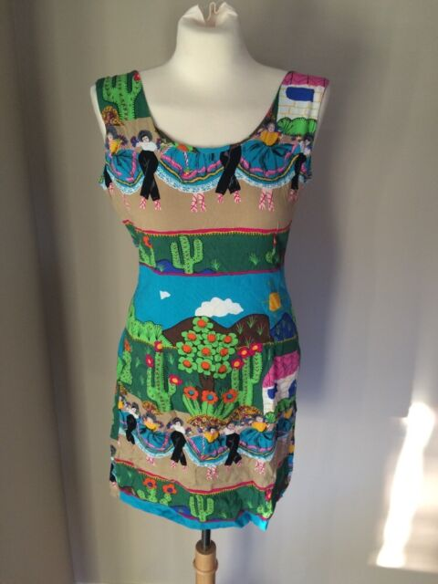 JAMS WORLD 100% Rayon 30th Anniversary Mexican Inspired Dress Sz 4 6