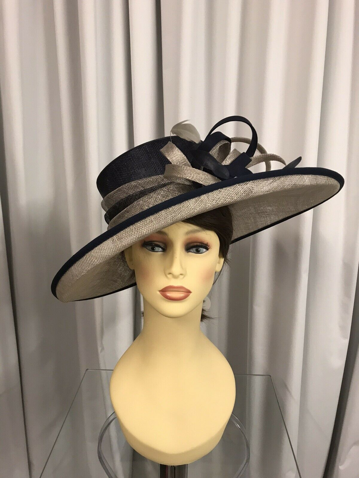 Hawkins Hat, Wedding Occasion, Formal Races In Navy/Pale Gold NWT