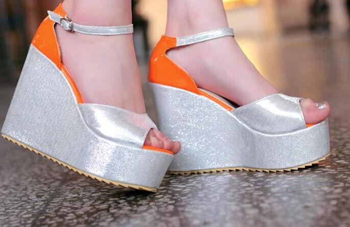 Sommer Sandale frau keilabsätze absatz 15 cm gesamt silber silber silber rosa orange gelb de4139
