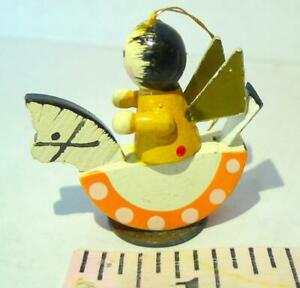 Rocking Horse Winged Angel Wooden Ornament Vintage Miniature Yellow Dots