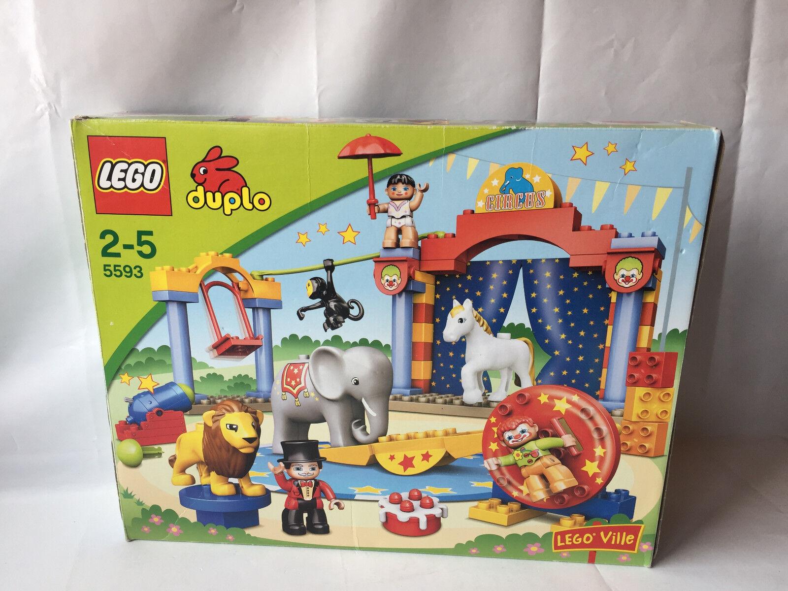 LEGO DUPLO VILLE circo-clown, pista numero, leone, elefante, ARTIST Set 5593 IN SCATOLA ORIGINALE