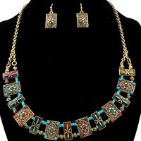 Western Cowgirl Turquoise Coral Seed Beads Rectangle Card Necklace With Earrings