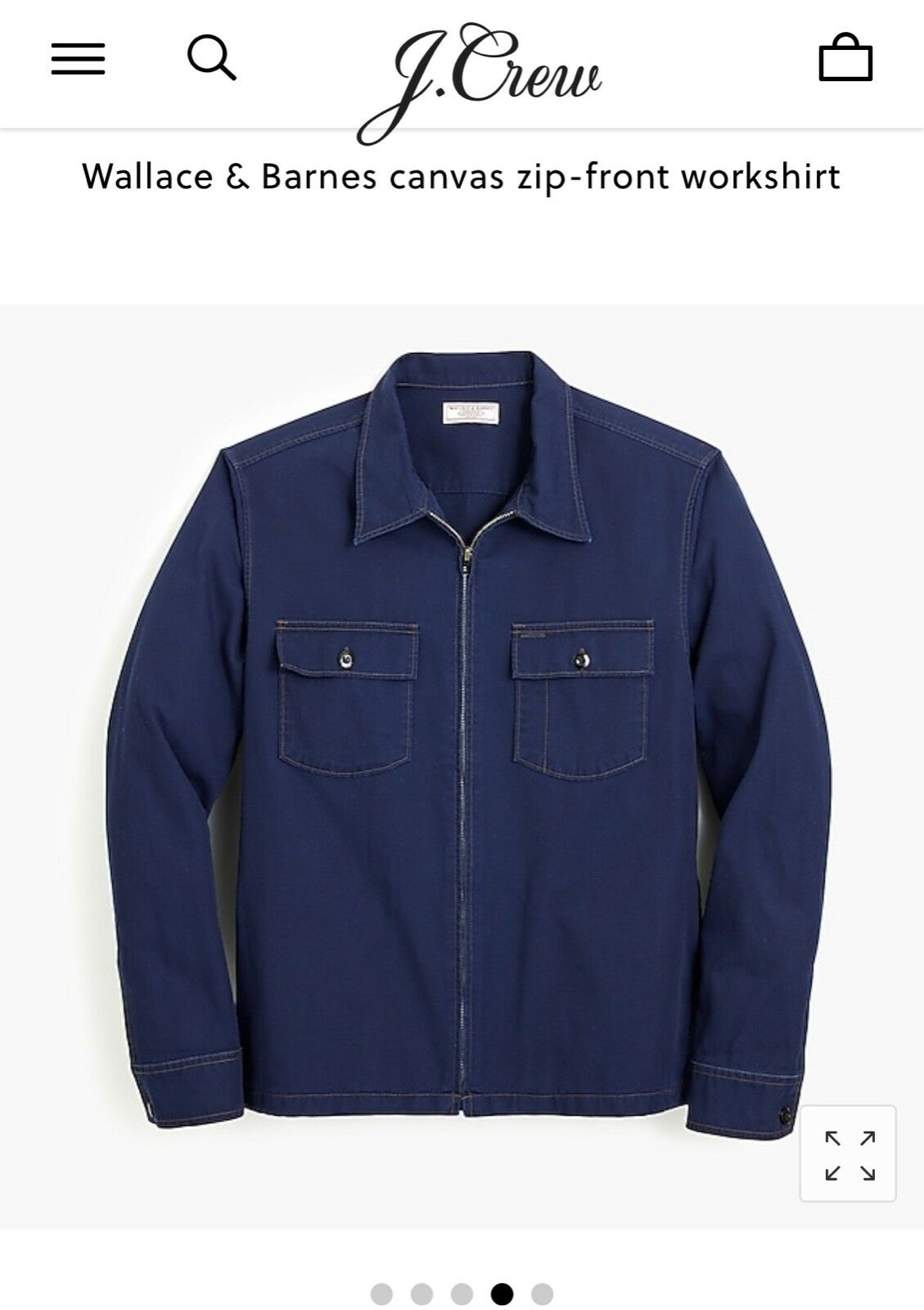 NWT J. Crew Wallace & Barnes canvas zip-front workshirt x Large XL New H7139