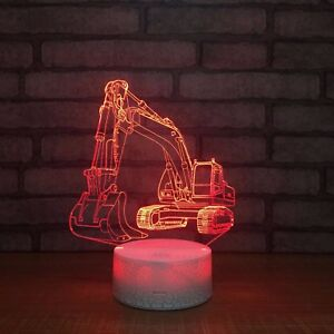 Excavator-3D-Night-Light-Colors-Change-Crackle-Paint-Base-Table-Desk-Beside-Lamp