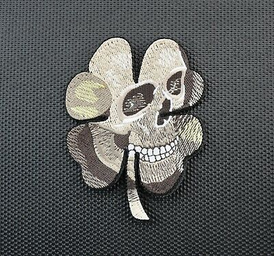 Pirate Skull Clover Military Army Morale MilSpec Tan Desert Patch Hook