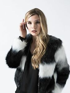Womens black bomber jacket with fur