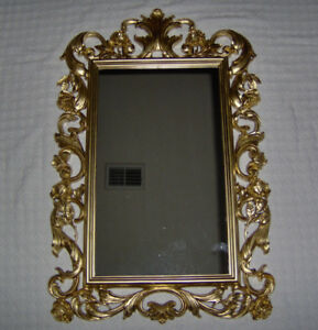 large home interior syroco 1977 gold framed rose mirror wall decor