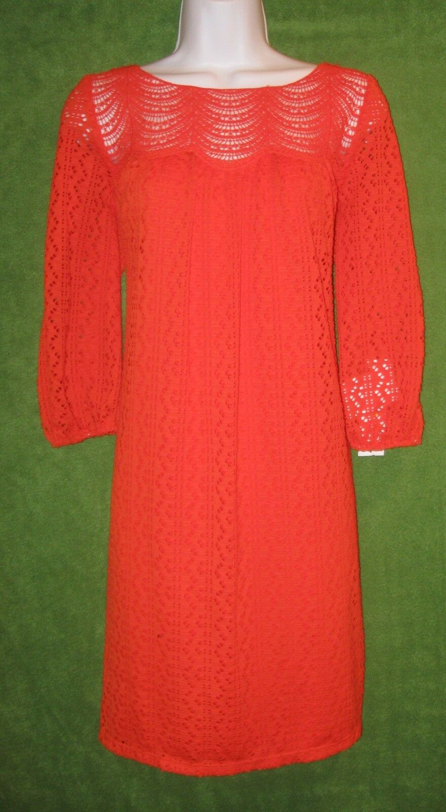 London Times orange Eyelet Crochet Shift Work Social Dress 4