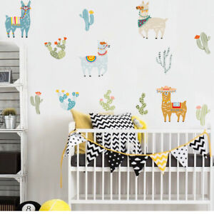 Details About Cartoon Animal Alpaca Llama Wall Sticker Art Decal Baby Kids Room Decor