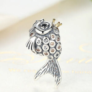 Authentic-925-Sterling-Silver-Cute-Fish-Charm-Bead-with-Clear-CZ-Plated-14K-Gold