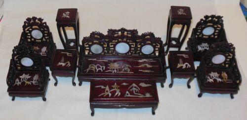 10 piezas Conjunto de Palo de Rosa Sala Madre de Perla con incrustaciones de Casa de Muñecas Muebles