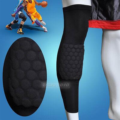 Sport Honeycomb Pad Crashproof Antislip Basketball Leg Knee Long Sleeve Black