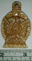 Carved Bone Tibetan Lucky Fish & Conch Auspicious Symbols Amulet Pendant Charm
