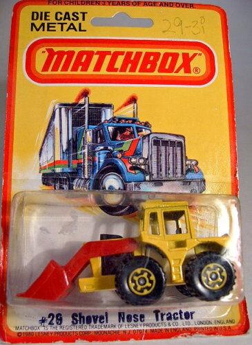MATCHBOX SF Nº 29 C TRACTOR SHOVEL D 'Jaune Jaune Jantes comme neuf dans boîte