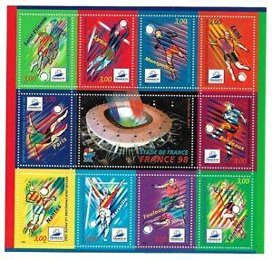 Bloc-Feuillet-1998-N-19-Timbres-France-Neufs-Stade-de-France-Coupe-du-monde-98