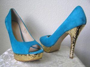 Enzo Angiolini - Peep Toe Pump Heels Platform SULLY Blue Suede 9.5M