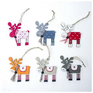 Wooden-Painted-Elk-Reindeer-Pendant-Christmas-Tree-Decoration-Xmas-Deer-Ornament