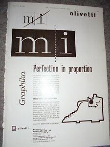 Olivetti Graphika Typewriter art advert 1957 ref AJ