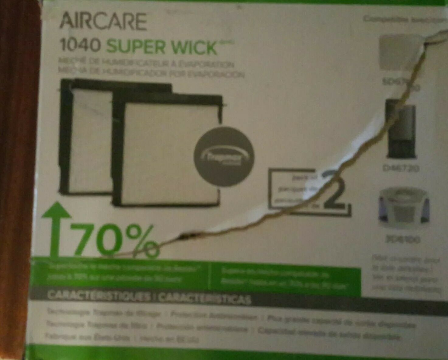 2 Pack AirCare 1040 Super Wick Filter Humidifier Accessory Antimicrobial Air Protection White