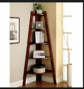 Corner Shelf Stand Wood 5 Shelves Display Storage