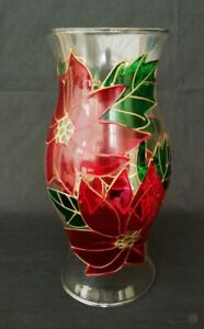 Stained Glass Votive Shade In Poinsettia Design   FREE Delivery UK*